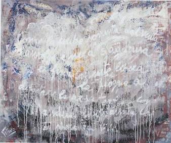 """Storiche Presenze. Mandela.""""come la nube sospinta dal vento s'avvolge e nera s'addensa e finalmente libera la pioggia a dissetare l'arsa terra così Mandela libero disseta chi di speranza vive"""" 1990. 100x120. Tecnica Mista."""