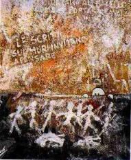 Presenze contemporanee. Le scritte sui muri invitano a pensare. 1987. 100x120. Tecnica Mista.
