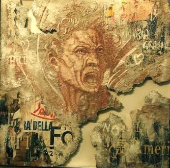 Michelangelo al Muro. L'anima Dannata. 2003. 105x105. Tecnica Mista.