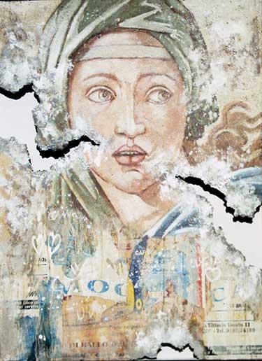 Michelangelo al Muro. La Sibilla Delfica. 2002. 110x80. Tecnica Mista.