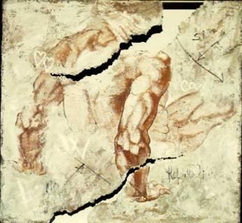 Michelangelo al Muro. Studio per Resurrezione. 2002. 90x90. Tecnica Mista.